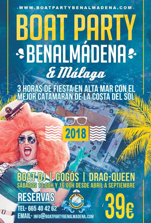 Flyer fiesta en barco Benalmadena